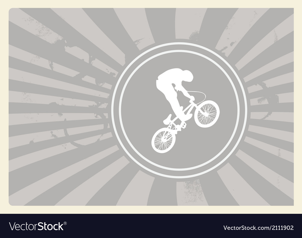 Bmx cyclist on grey background vector | Price: 1 Credit (USD $1)