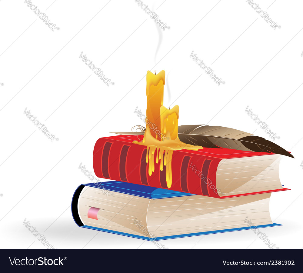 Extinguished candles and books vector | Price: 1 Credit (USD $1)