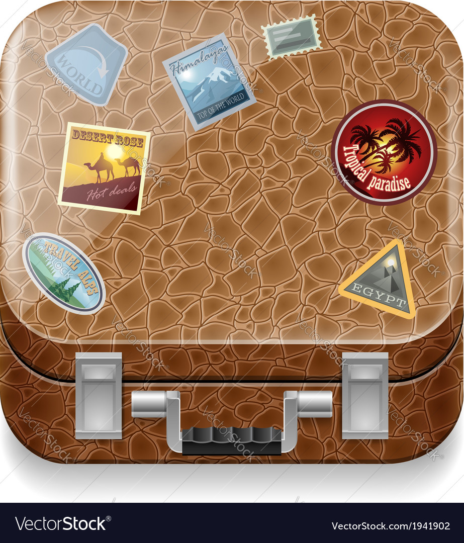 Leather suitcase with stickers vector | Price: 1 Credit (USD $1)