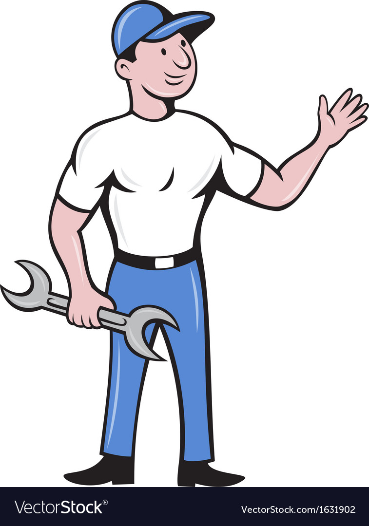 Mechanic repairman spanner waving hand vector | Price: 1 Credit (USD $1)