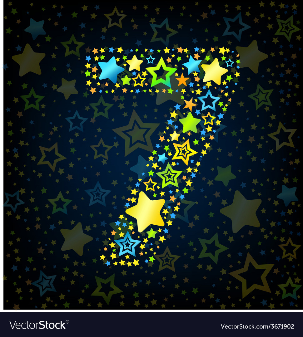 Number 7 cartoon star colored vector   Price: 1 Credit (USD $1)
