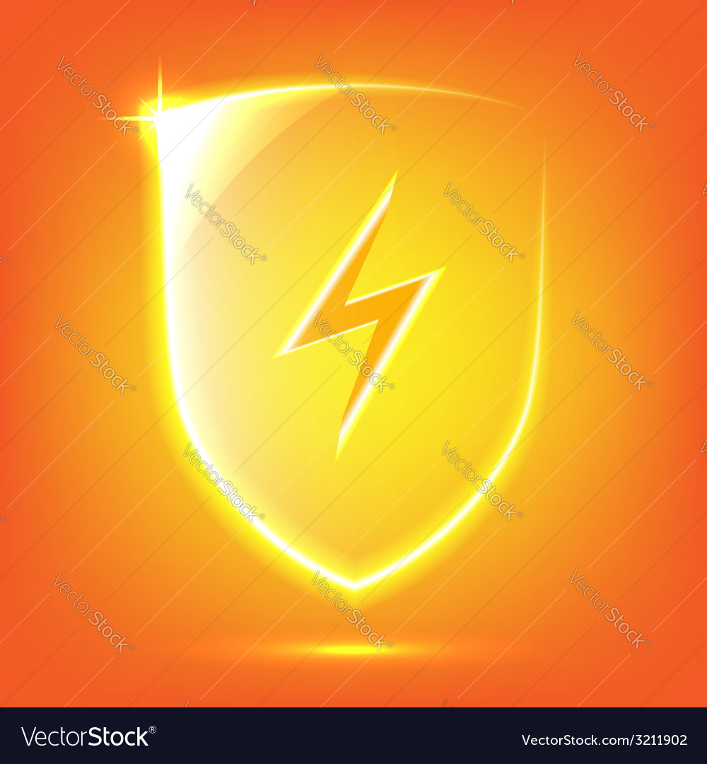 Orange glass shield vector | Price: 1 Credit (USD $1)