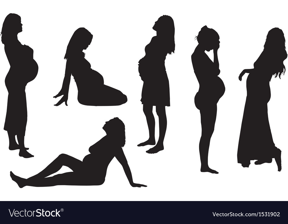 Pregnant woman silhouette vector | Price: 1 Credit (USD $1)