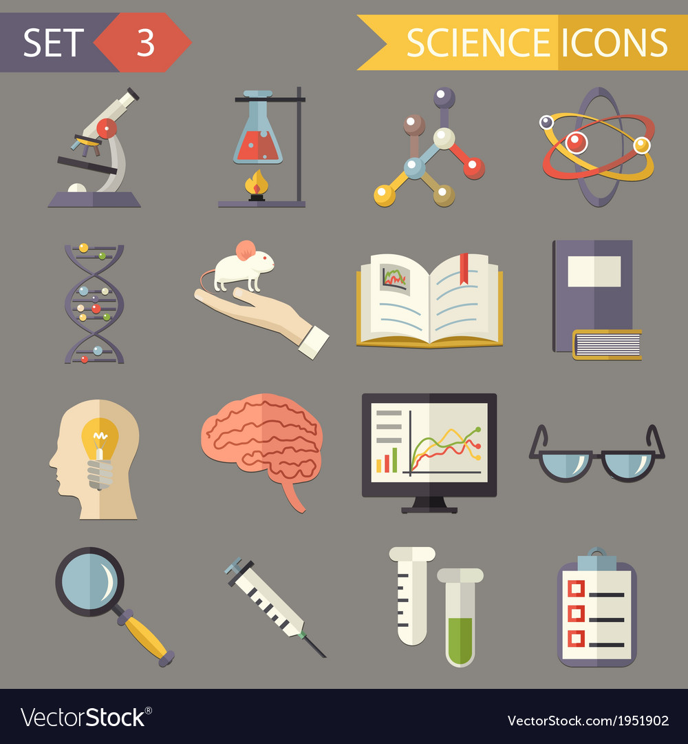 Retro flat science icons and symbols set vector | Price: 1 Credit (USD $1)