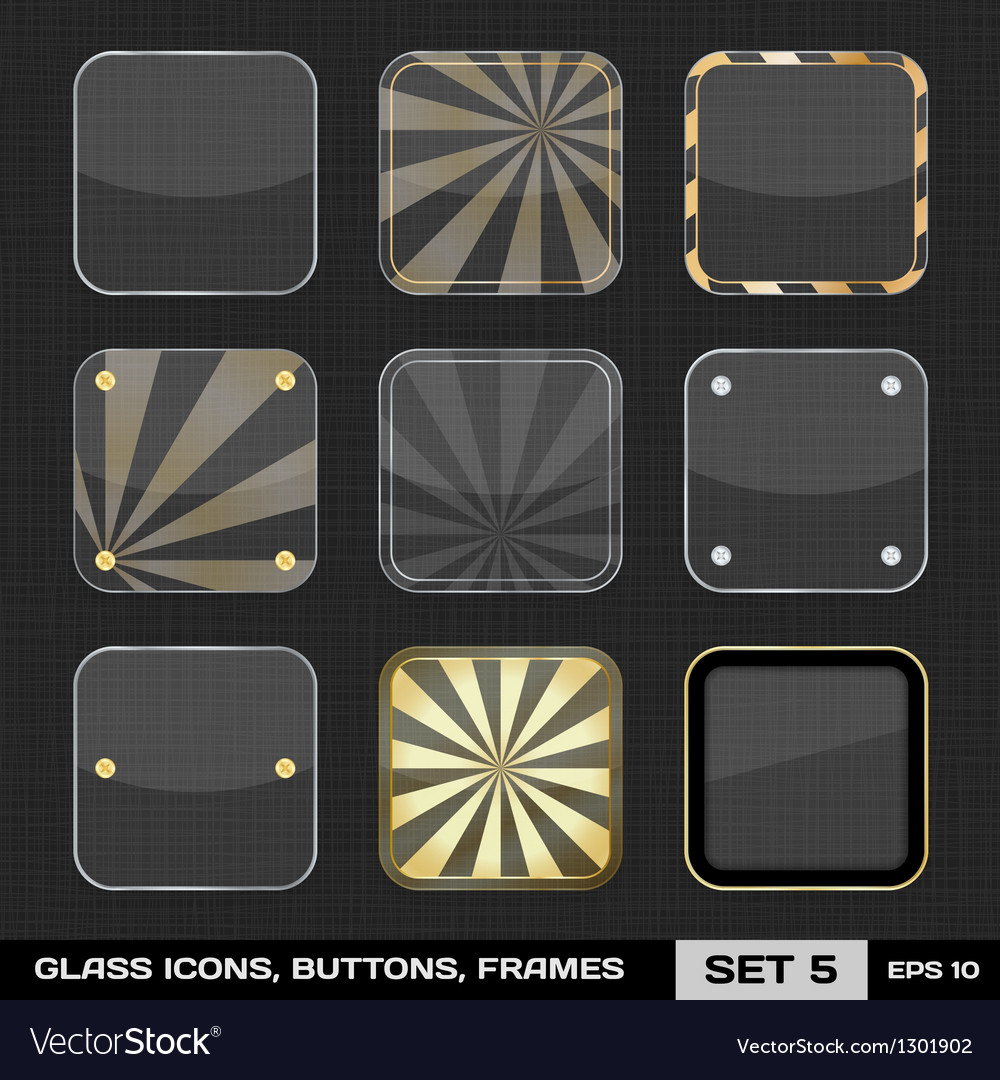 Set of colorful app icon frames templates buttons vector | Price: 1 Credit (USD $1)