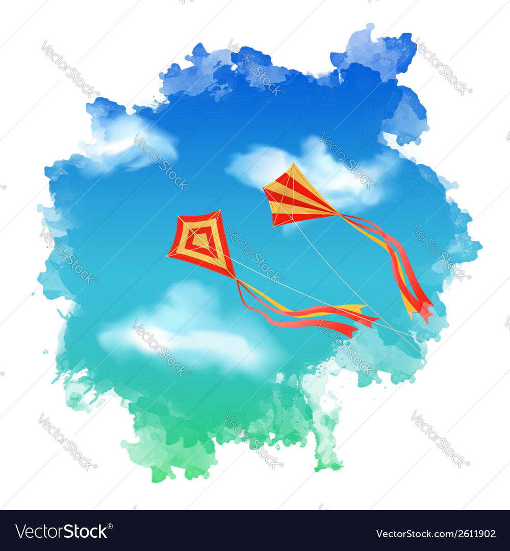 Sky kite watercolor vector | Price: 1 Credit (USD $1)