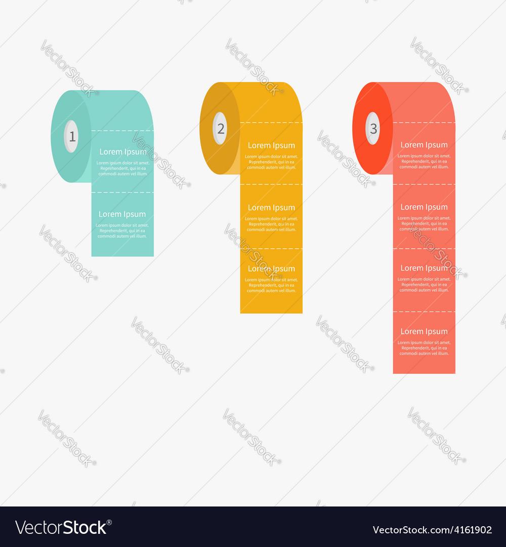 Toilet paper roll set dash line flat design three vector   Price: 1 Credit (USD $1)