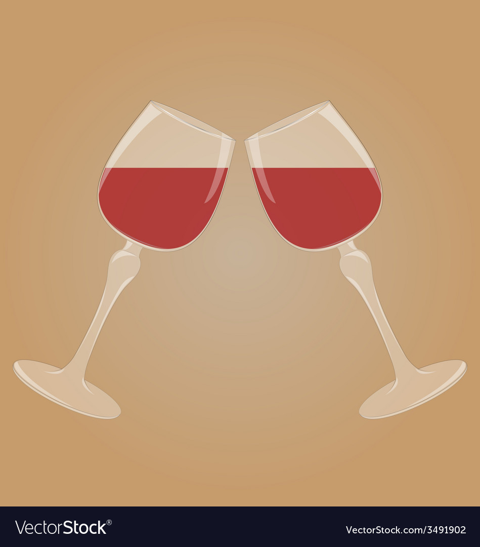 Two glasses with red wine vector | Price: 1 Credit (USD $1)