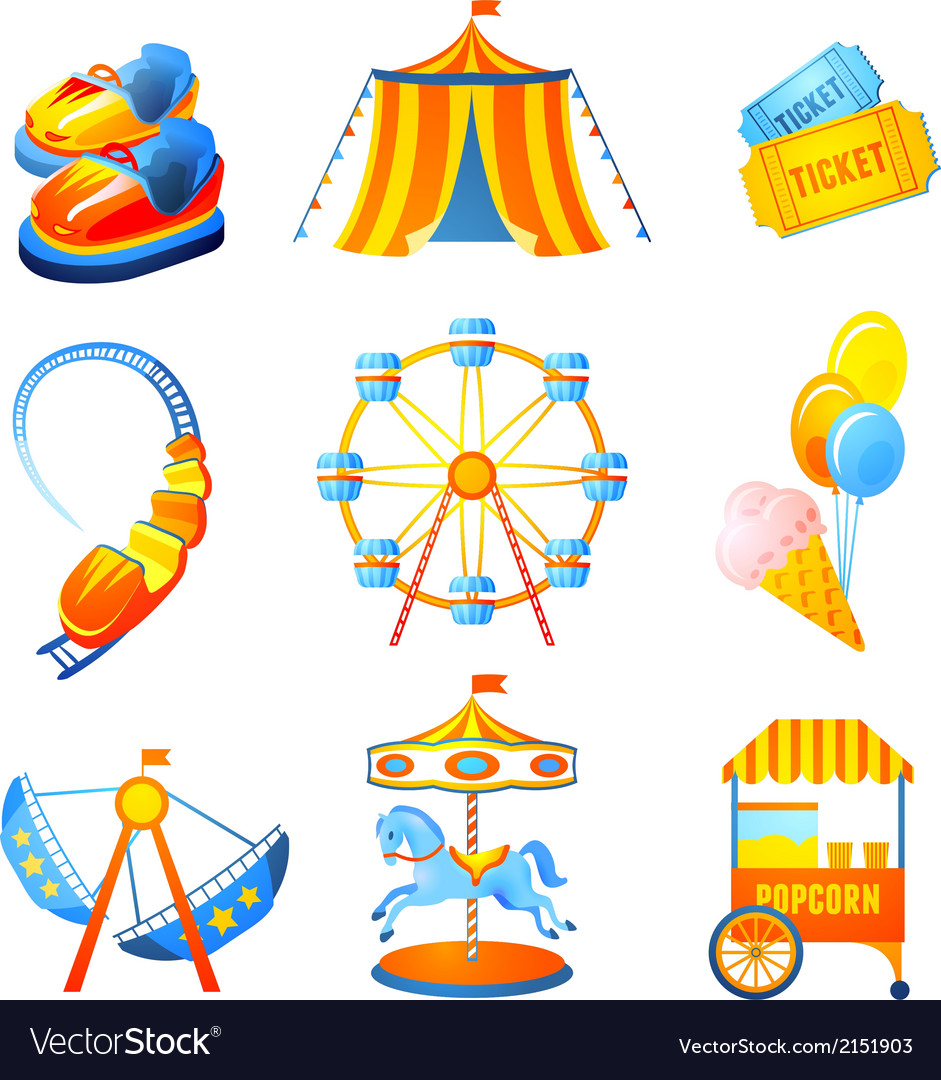 Amusement park icons set vector | Price: 1 Credit (USD $1)