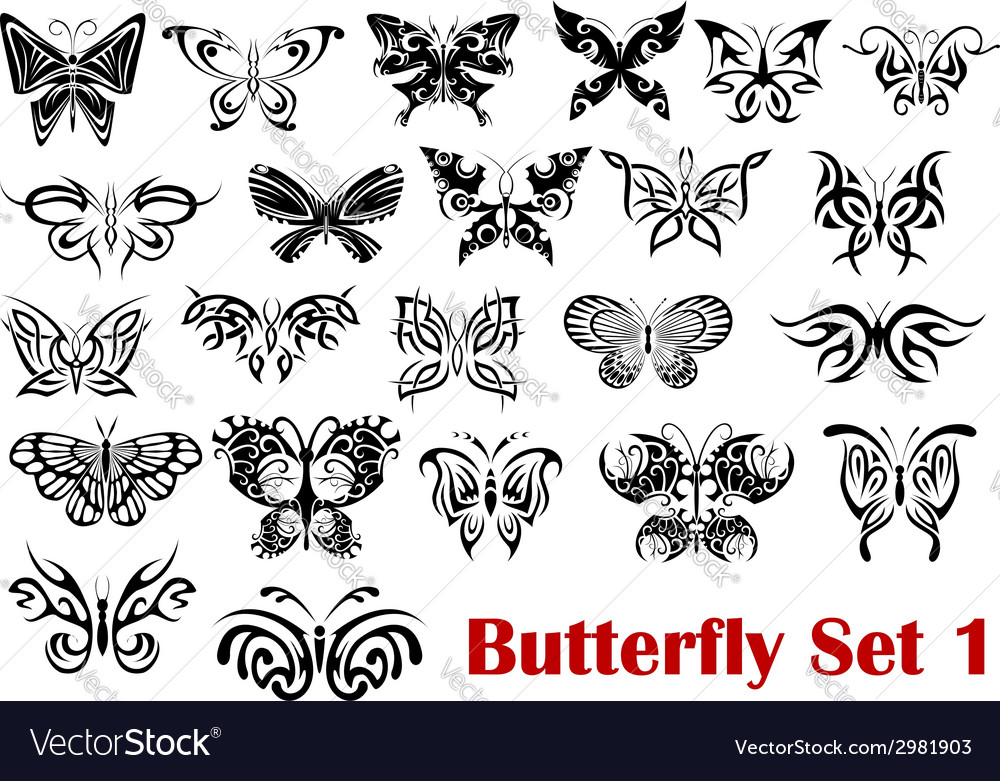 Butterfly silhouette icons vector | Price: 1 Credit (USD $1)