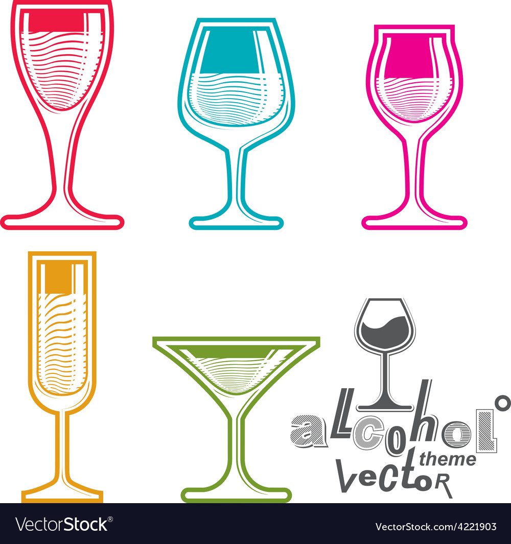Colorful glasses collection vector | Price: 1 Credit (USD $1)