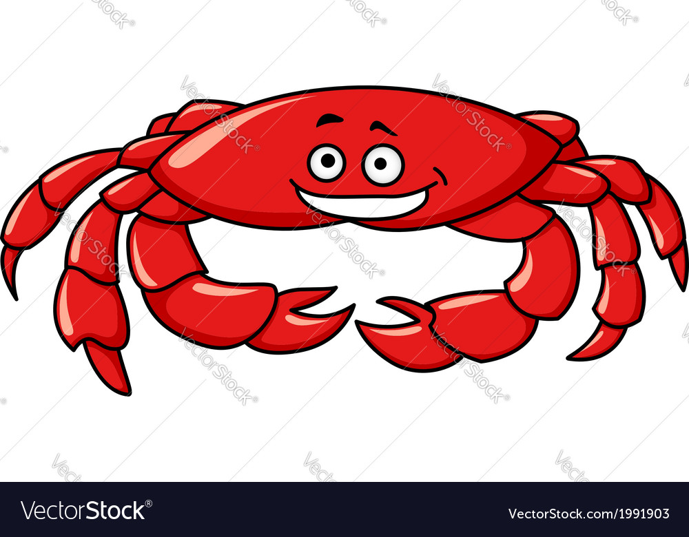 Colorful red cartoon crab vector | Price: 1 Credit (USD $1)