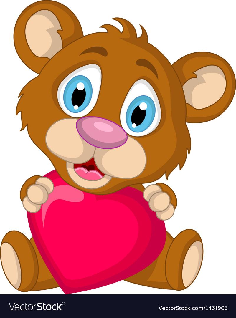Cute little brown bear cartoon holding heart love vector | Price: 1 Credit (USD $1)