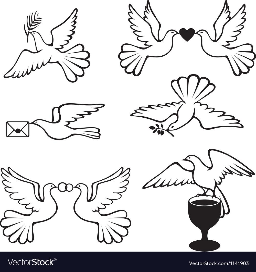 Dove set vector | Price: 1 Credit (USD $1)