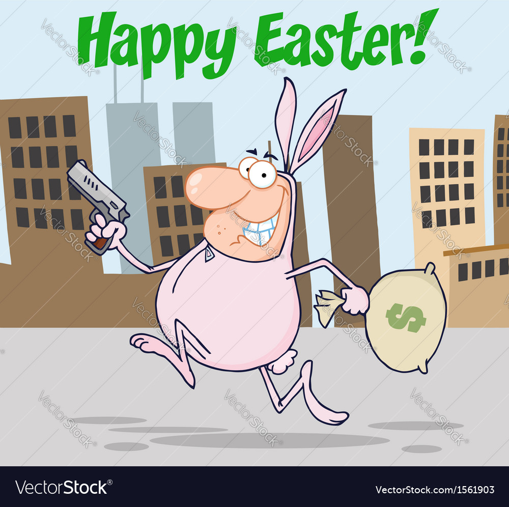 Easter bunny bandit cartoon vector | Price: 1 Credit (USD $1)