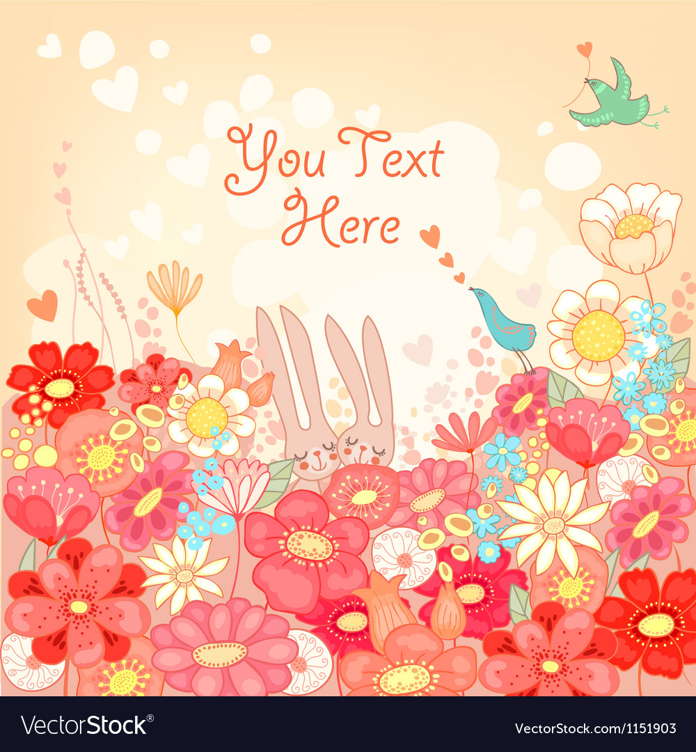 Floral background with bunnies vector | Price: 3 Credit (USD $3)