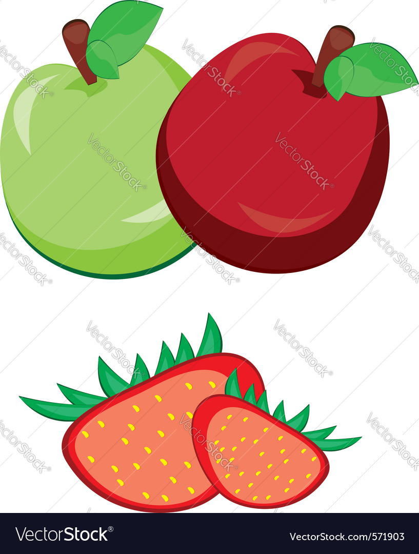 Fruit apple with strawberry vector | Price: 1 Credit (USD $1)