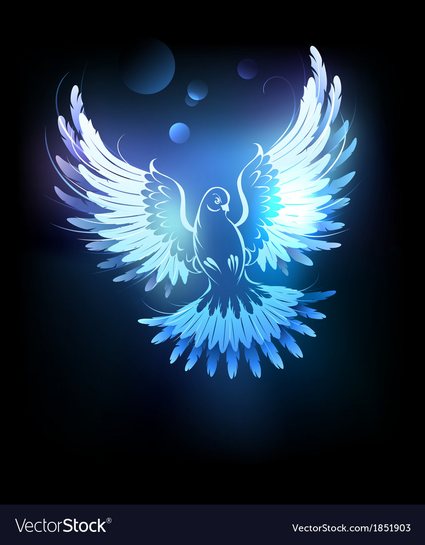 Glowing blue dove vector | Price: 3 Credit (USD $3)