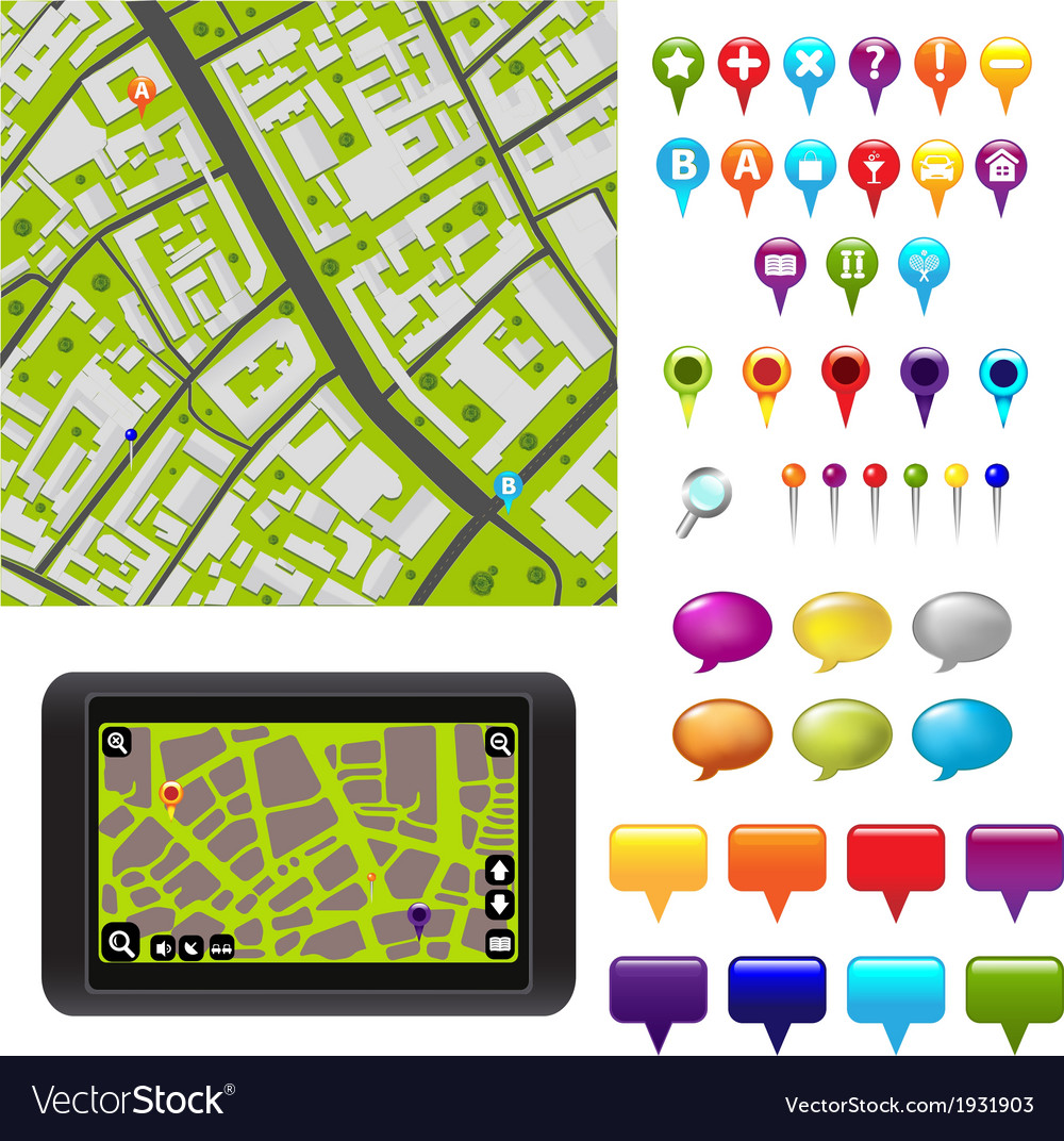 Gps icons and map vector | Price: 1 Credit (USD $1)