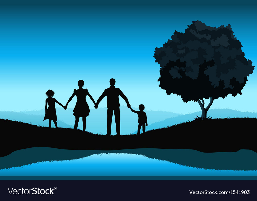 Nature background with family silhouette vector | Price: 1 Credit (USD $1)