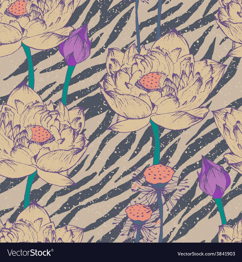 Seamless floral pattern on zebra background vector | Price: 1 Credit (USD $1)