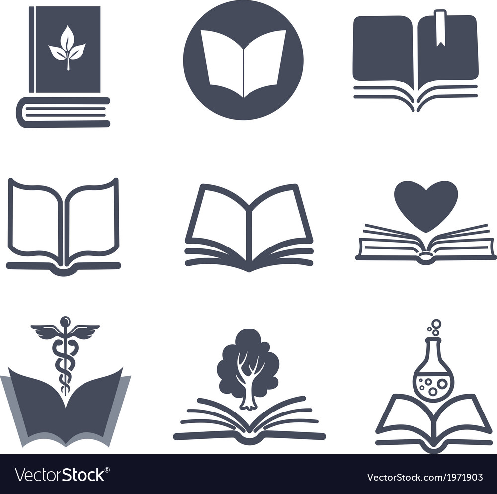 Set of book icons vector | Price: 1 Credit (USD $1)