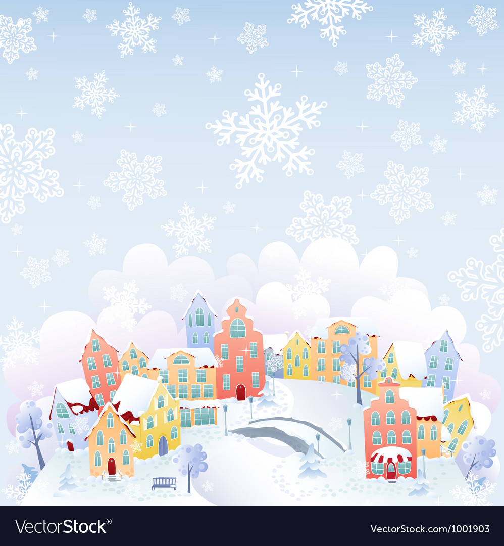Snowing town vector | Price: 1 Credit (USD $1)