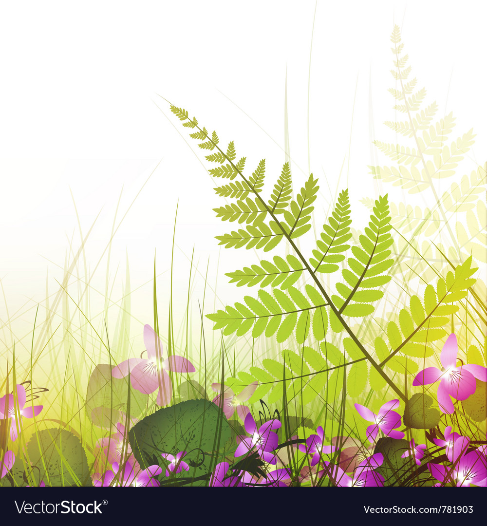 Summer meadow with viola flowers vector | Price: 3 Credit (USD $3)