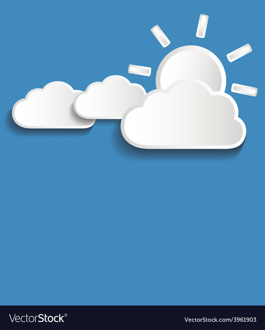 White clouds with sun vector | Price: 1 Credit (USD $1)