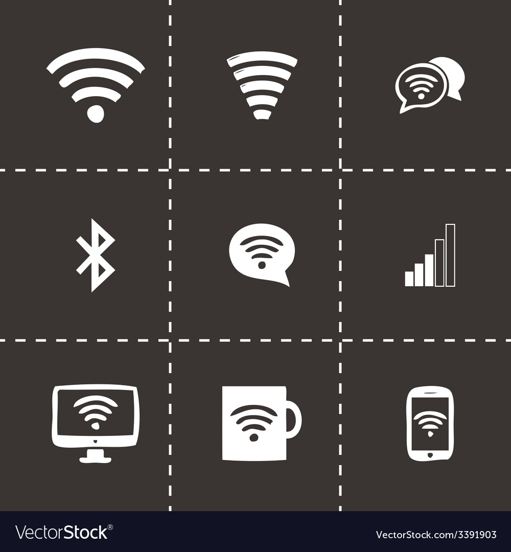 Wireless icons set vector | Price: 1 Credit (USD $1)