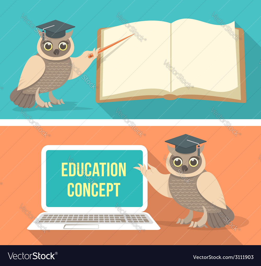 Wise owl with book and laptop vector | Price: 1 Credit (USD $1)