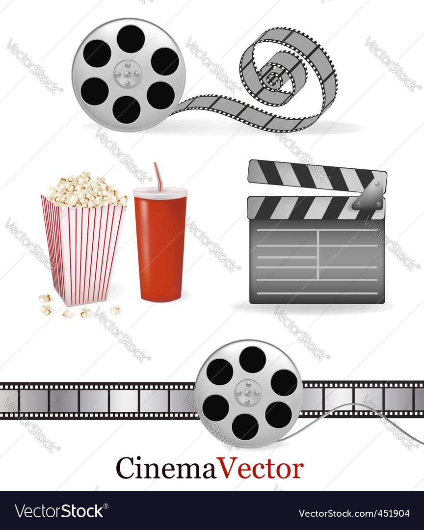 Big group with cinema elements vector | Price: 1 Credit (USD $1)