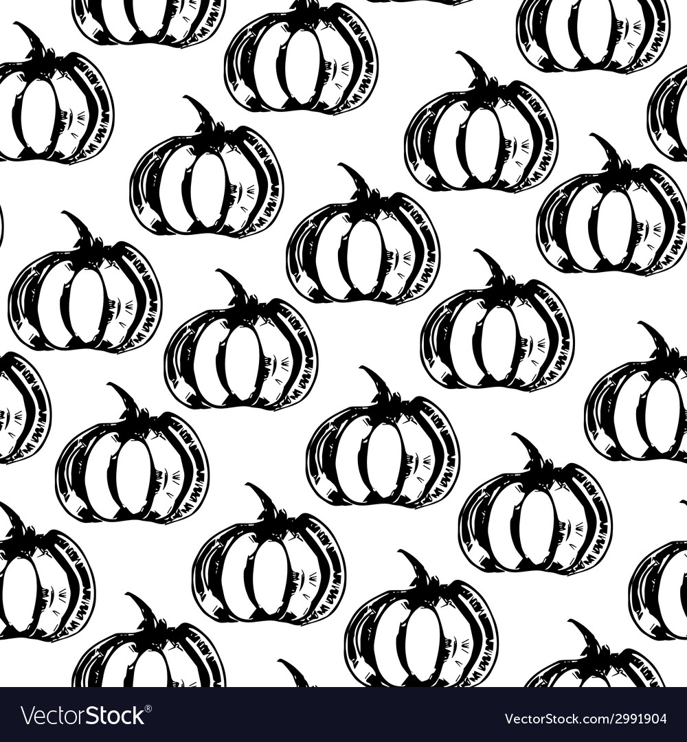Black and white seamless pattern with pumpkins vector | Price: 1 Credit (USD $1)