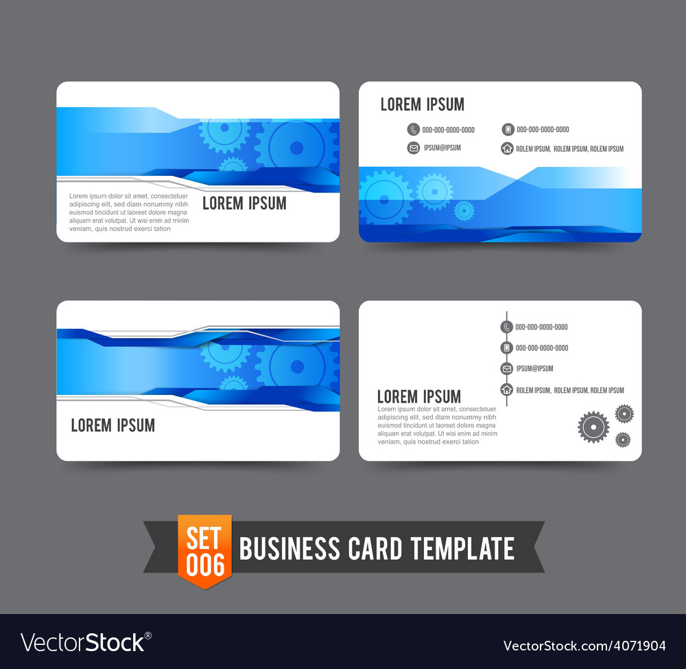 Business card template set 006 gear technology vector | Price: 1 Credit (USD $1)