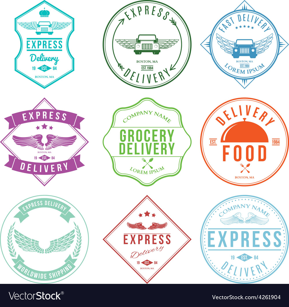 Express delivery label and badges design elements vector | Price: 1 Credit (USD $1)