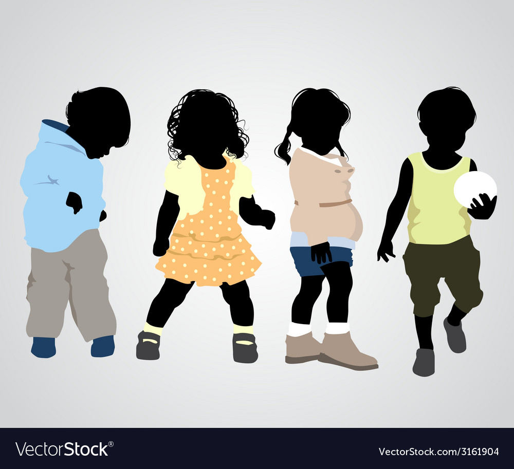 Four children silhouettes vector | Price: 1 Credit (USD $1)