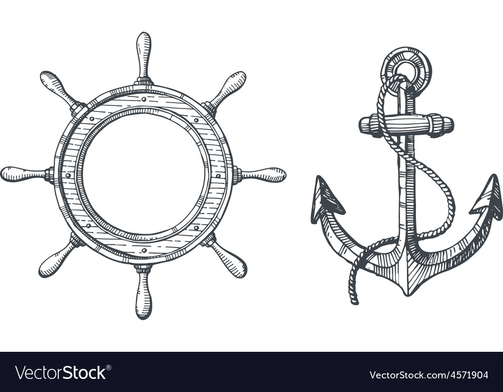Hand drawn of an anchor and a steering wheel vector | Price: 1 Credit (USD $1)