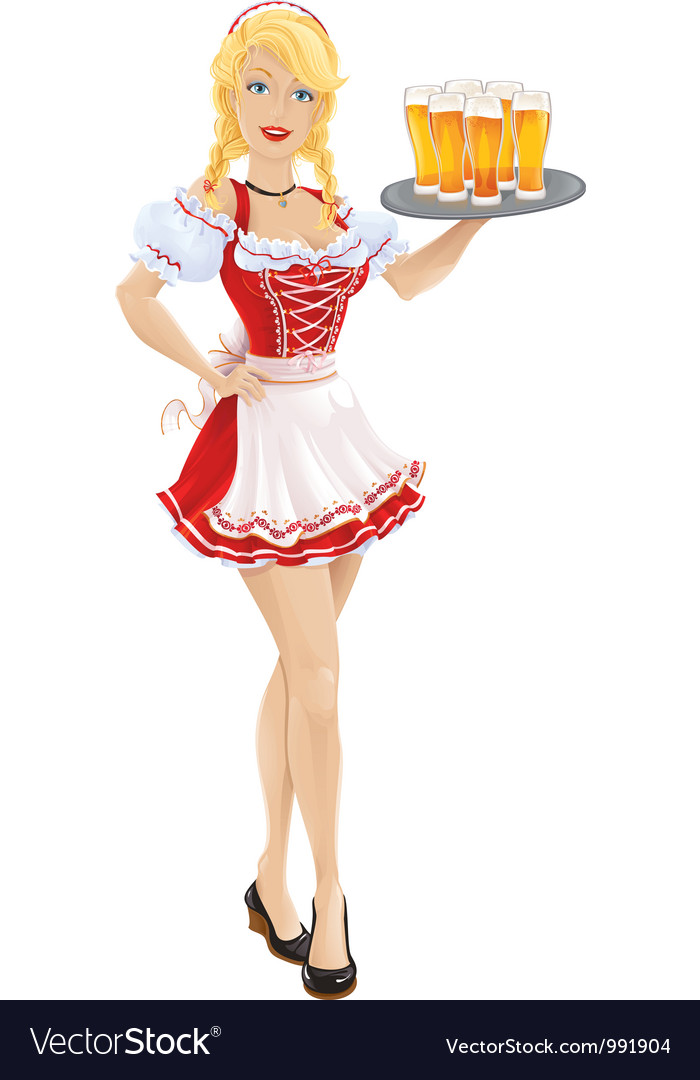 Oktoberfest girl with tray of beer vector | Price: 3 Credit (USD $3)