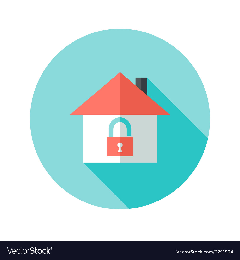 Open house with padlock circle flat icon vector | Price: 1 Credit (USD $1)