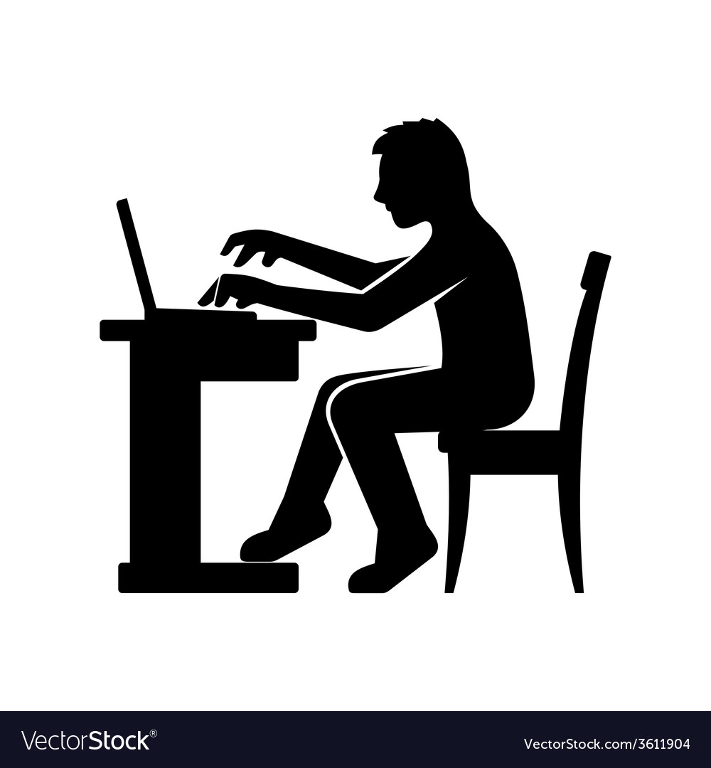 Programmer silhouette working on his computer vector | Price: 1 Credit (USD $1)