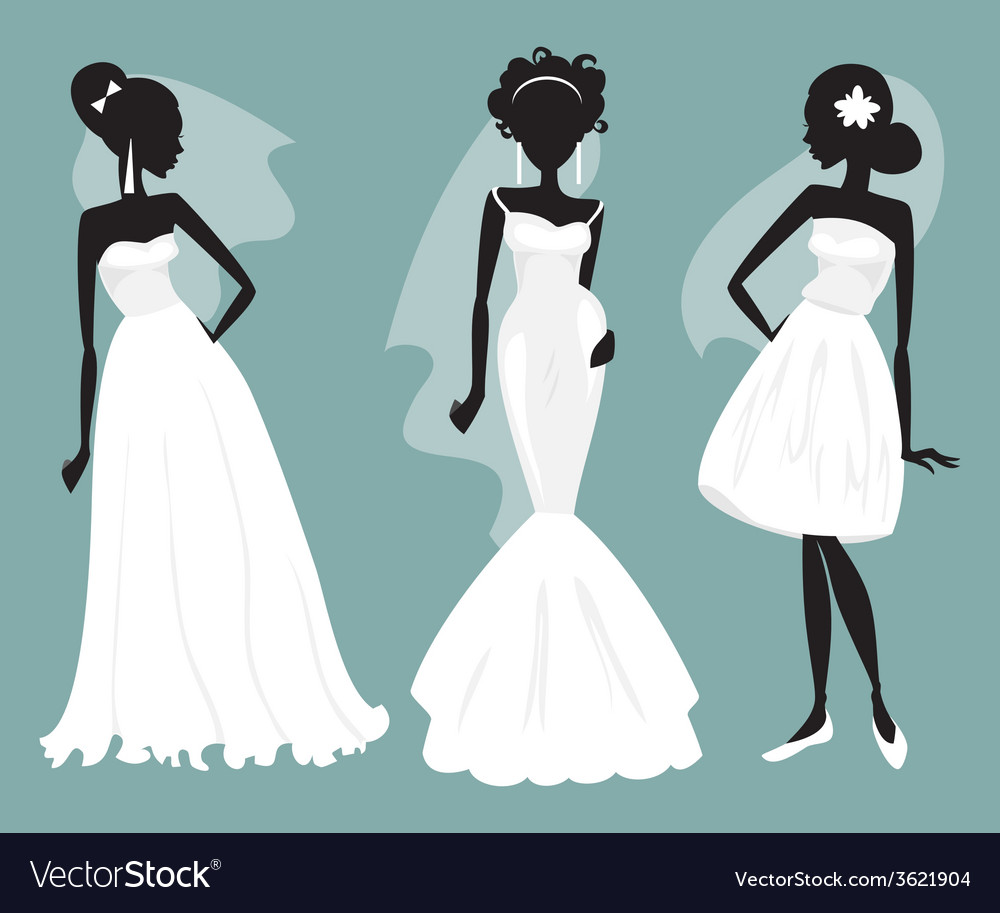 Set brides in various wedding dresses vector | Price: 1 Credit (USD $1)