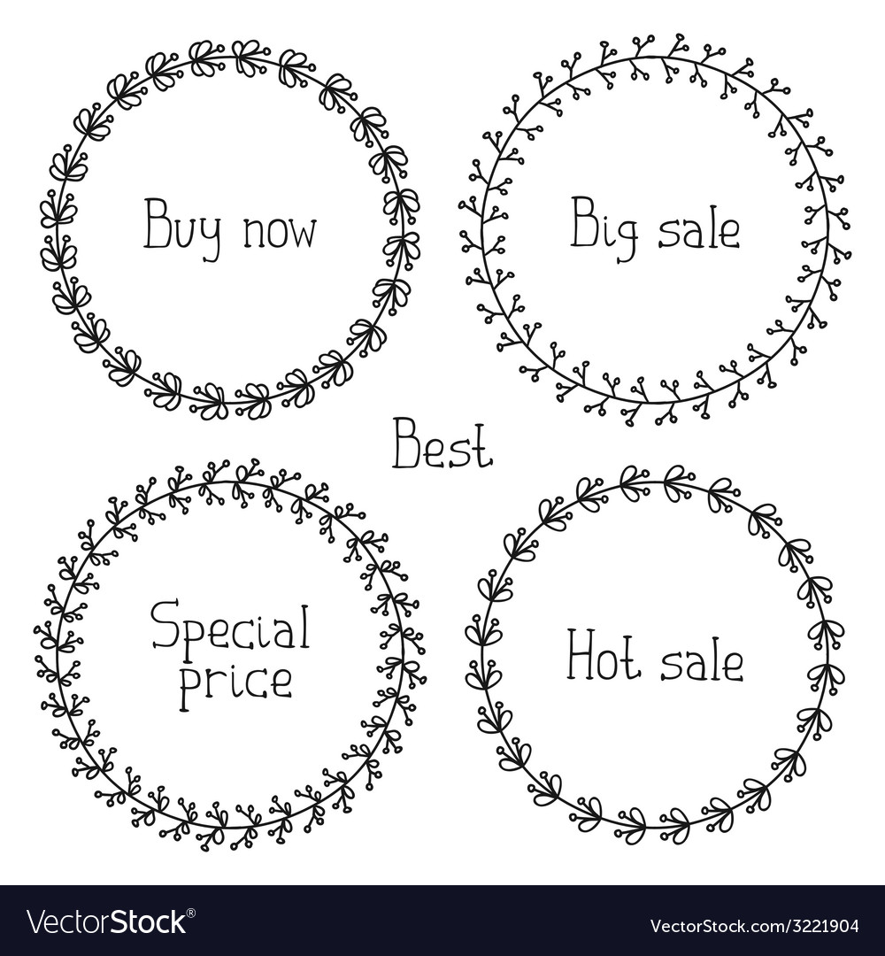 Set of hand drawn style badges and elements sale vector | Price: 1 Credit (USD $1)