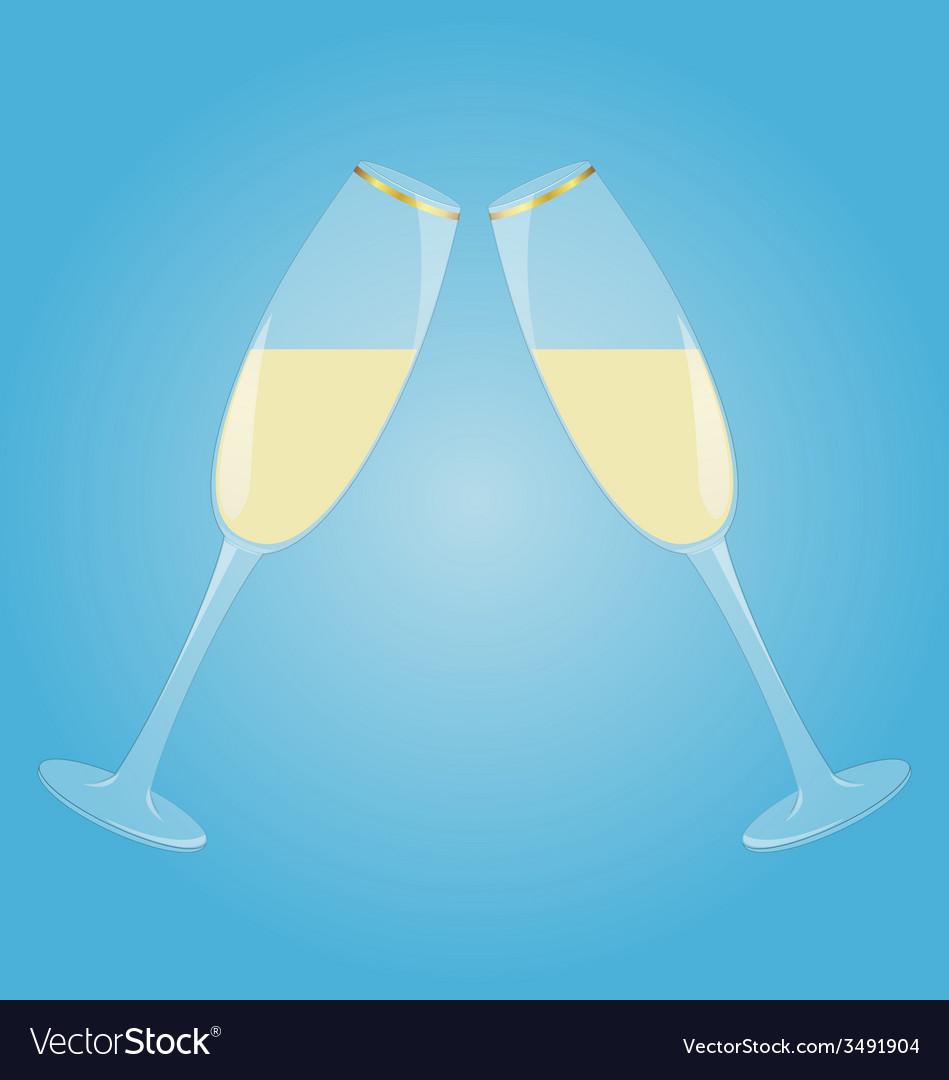 Two glasses with sparkling wine vector | Price: 1 Credit (USD $1)