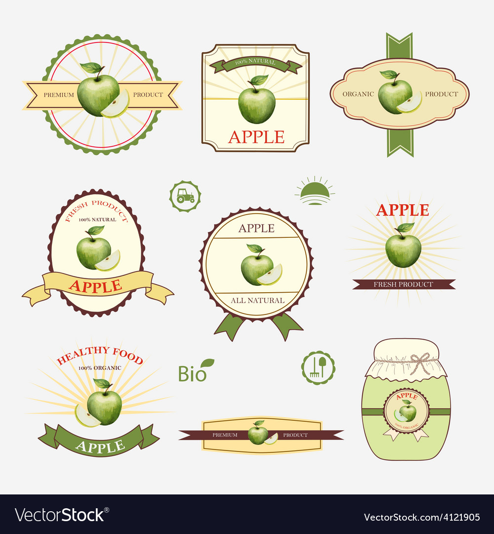 Apple green set of label design and templates vector | Price: 1 Credit (USD $1)