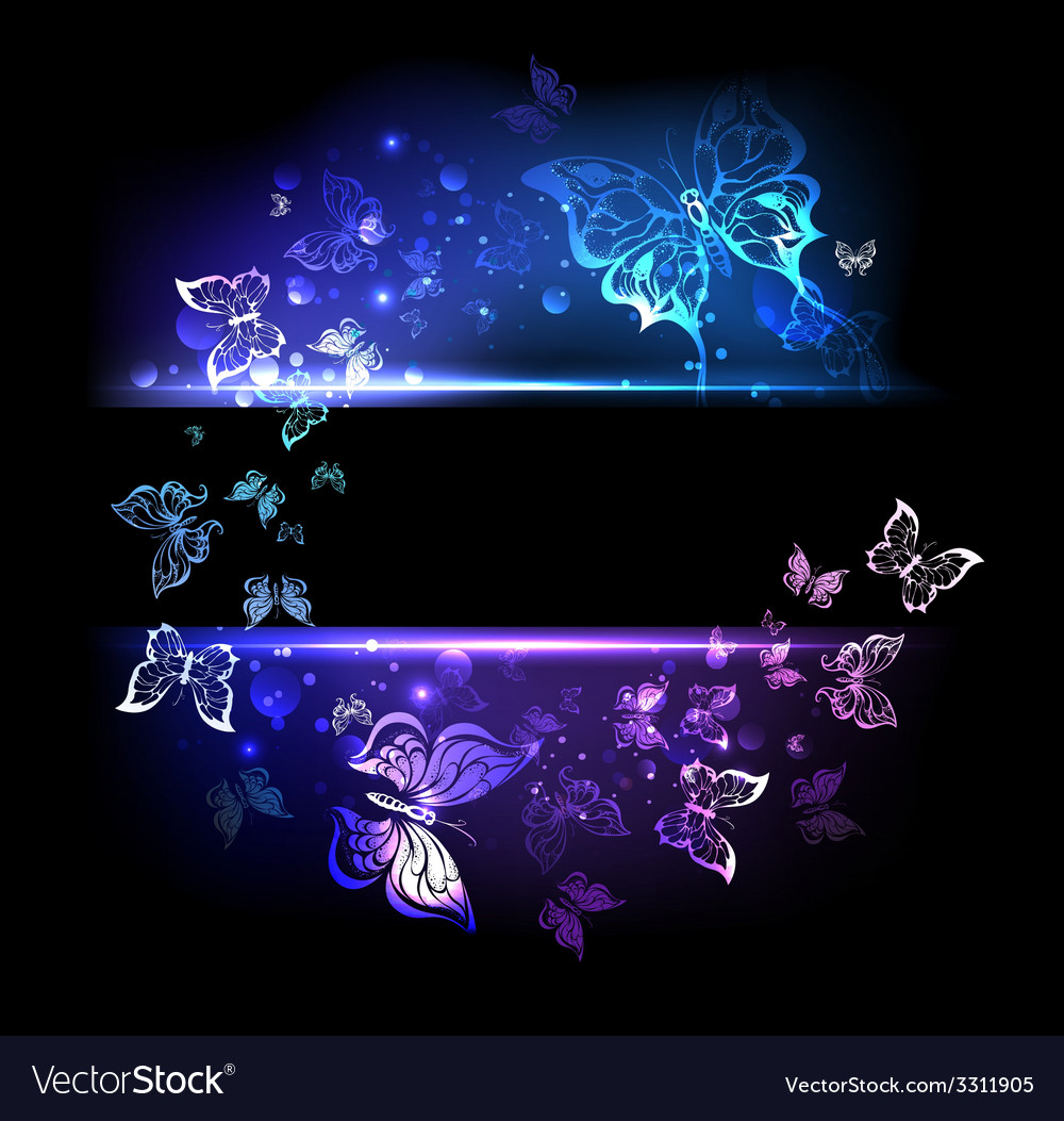 Banner with glowing butterflies vector