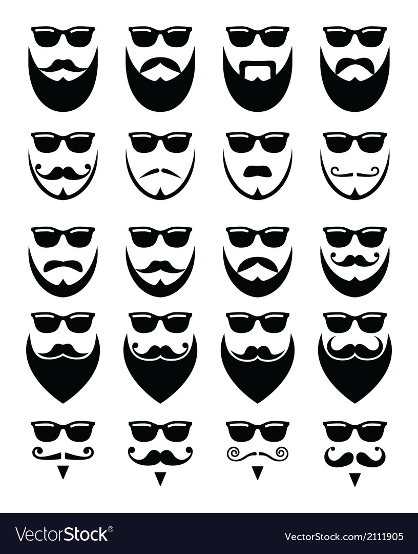 Beard and sunglasses hipster icons set vector | Price: 1 Credit (USD $1)