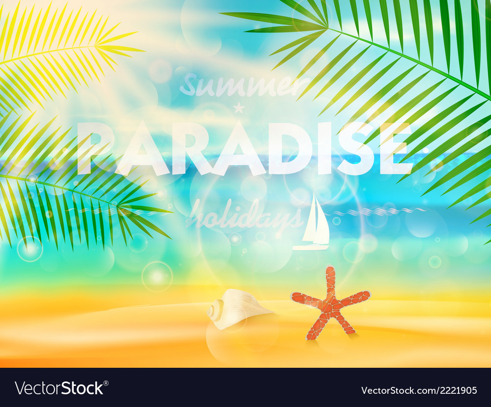 Beautiful seaside view poster vector | Price: 1 Credit (USD $1)