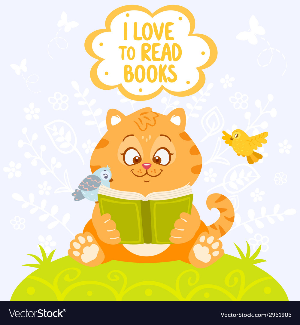 Cat with book vector | Price: 1 Credit (USD $1)