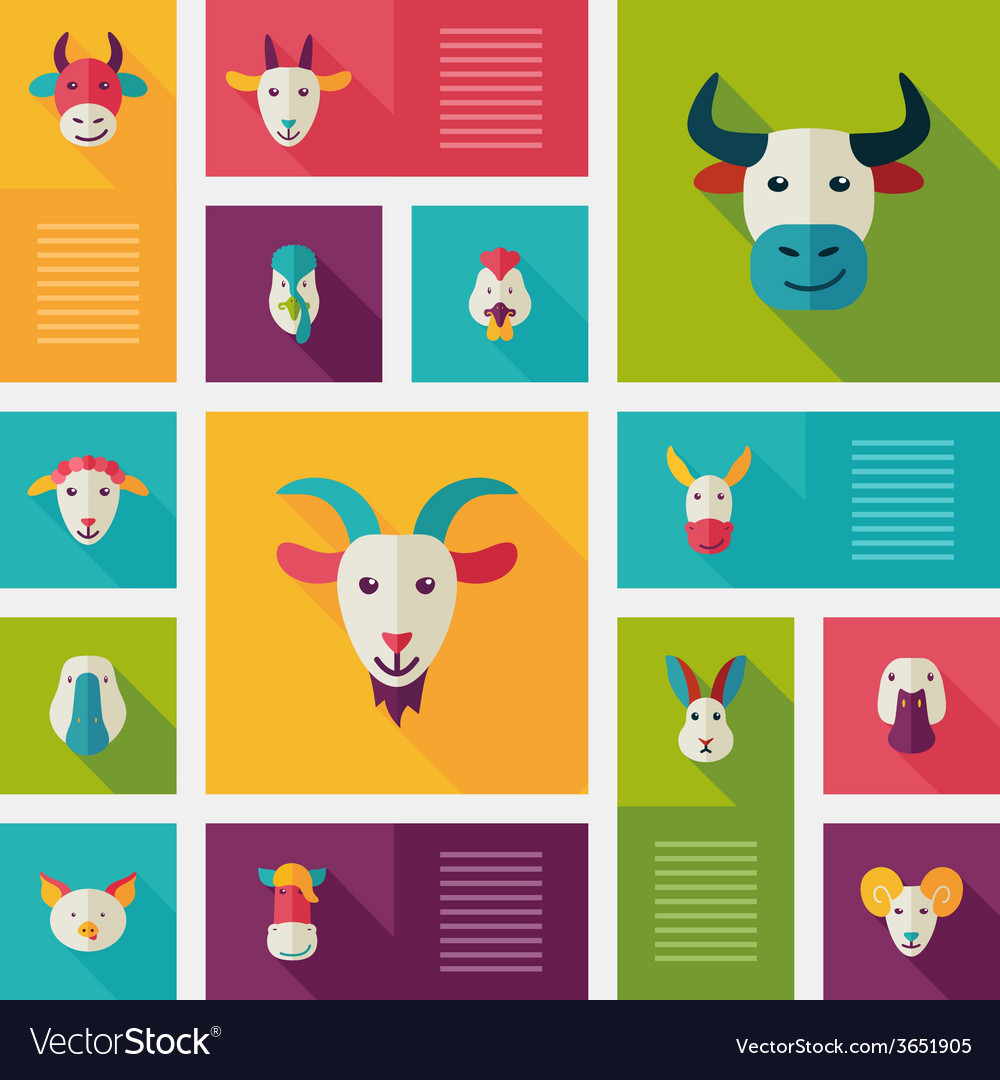 Colorful flat farm animals icons with long shadow vector | Price: 1 Credit (USD $1)
