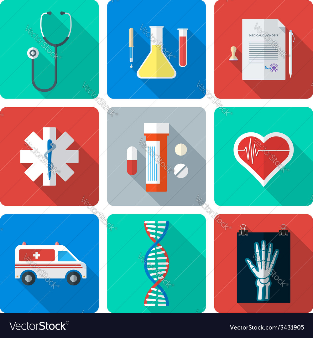 Flat style medical icons set vector | Price: 1 Credit (USD $1)